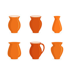 Pottery jugs set vector