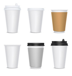 realistic 3d detailed blank paper cups set vector image