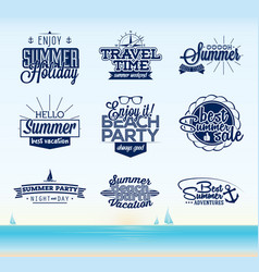 Retro summer typography design vector
