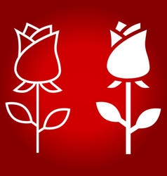 Rose flower line and glyph icon vector
