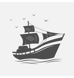 Sailing ships on sea isolated vector