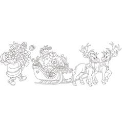 Santa loading gifts vector