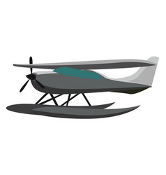Seaplane on water on white background vector