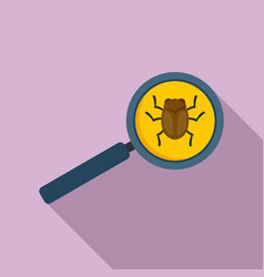 Search software bug icon flat style vector