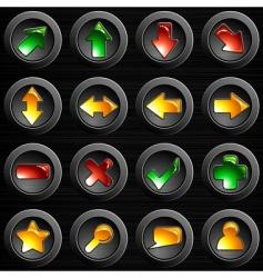 set brushed steel buttons vector image