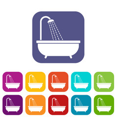 Shower icons set vector