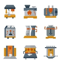 Simple colorful icons for coffee machines vector image