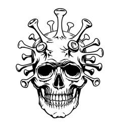 Skull face mutant biohazard with coronavirus vector