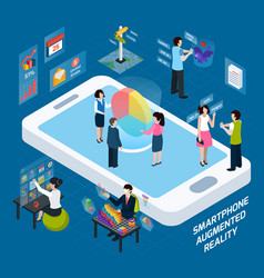 Smartphone augmented reality isometric composition vector