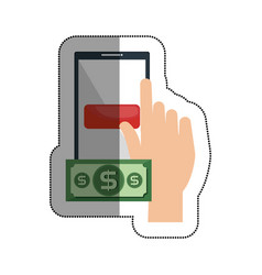 smartphone with money isolated icon vector image