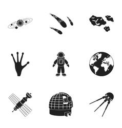 Space set icons in black style Big collection of vector