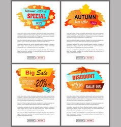 special offer autumn sale posters set promo advert vector image