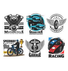 speedway motor racing sport icons vector image