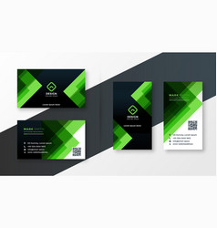 Stylish green business card design template set vector