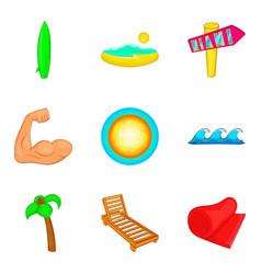 Sunbathe on the beach icons set cartoon style vector