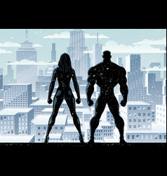 superhero couple watch winter 2 vector image