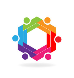 Teamwork business hexagon symbol vector