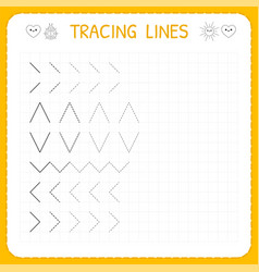 Tracing lines worksheet for kids working pages vector