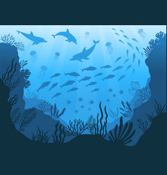 Underwater ocean fauna deep sea plants fishes vector