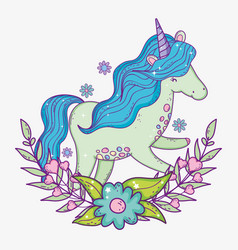 unicorn with mane and branches leaves with flower vector image
