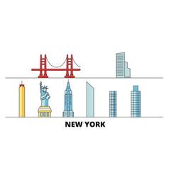 united states new york flat landmarks vector image