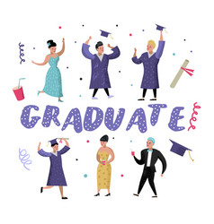 University graduate happy students graduation vector