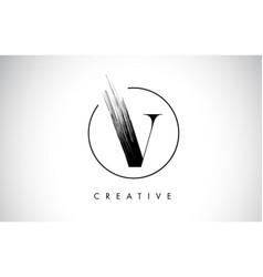 v brush stroke letter logo design black paint vector image