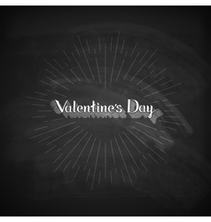 Valentines Day lettering emblem on the blackboard vector image