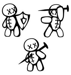 Voodoo doll fighting stencil vector
