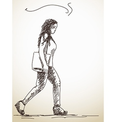 Walking woman vector