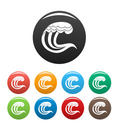 wave nature icons set color vector image