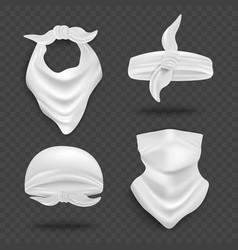 White bandana mock up set isolated on dark vector