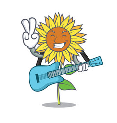with guitar sunflower mascot cartoon style vector image