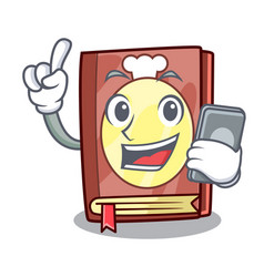 With phone recipe book above wooden character vector
