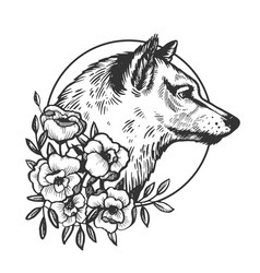 wolf head animal engraving vector image