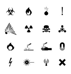 biohazard warning black signs collection isolated vector image vector image