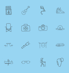 set of 16 editable camping doodles includes vector image vector image