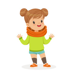 sweet smiling little girl dressed in casual vector image