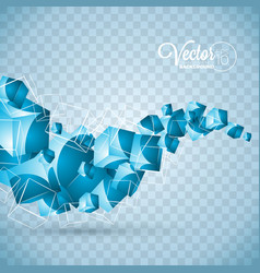 Abstract blue waves cubes design on transparent vector