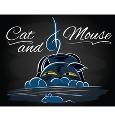 with cat that catches a mouse vector image