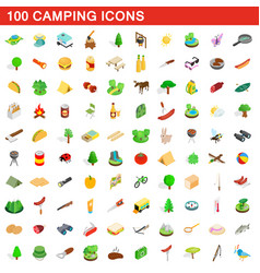 100 camping icons set isometric 3d style vector image vector image