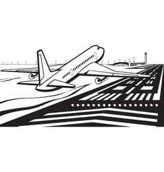Airplane landed on runway at airport vector image vector image
