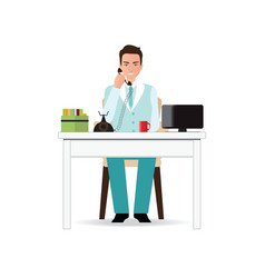 businessman talking on the phone in office vector image vector image