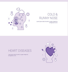 Cold runny nose and heart diseases concept vector