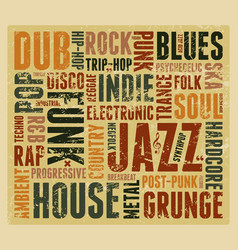 Music styles typographic vintage grunge poster vector
