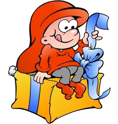 Hand-drawn of elf sitting on a gift vector image
