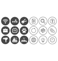 Hotel apartment service icons wi-fi internet vector