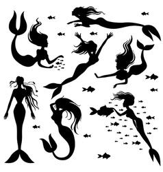 mermaid set vector image vector image