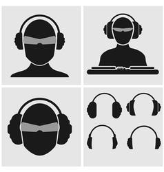 Music Headphones Icons vector image