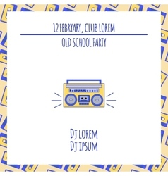 Old school dance party poster in retro design vector
